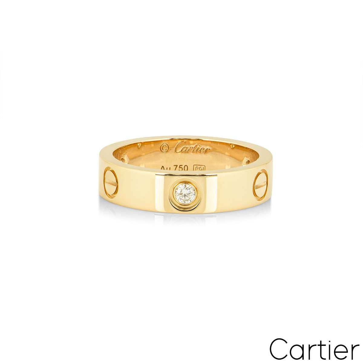 Cartier Yellow Gold Half Diamond Love Ring Size 54 B4032400